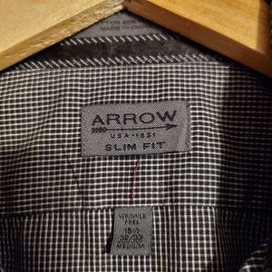 Arrow slim fit checked dress shirt